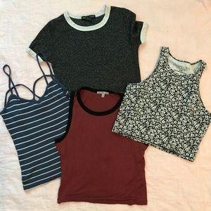 Lot of four (4) crop top shirts - Sz Small